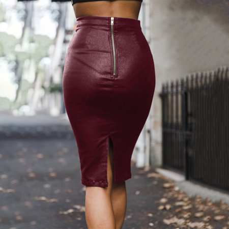 Aofa Women Sexy High Waist Back Slit Zipper Faux Leather Bodycon Midi Pencil Skirt - image 3 of 7