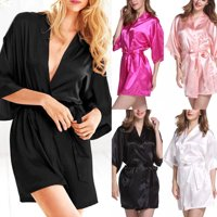Women Ladies Girl Robe Silk Satin Robes Wedding Bridesmaid Bride Gown kimono Solid Robe Sleepwear Nightwear