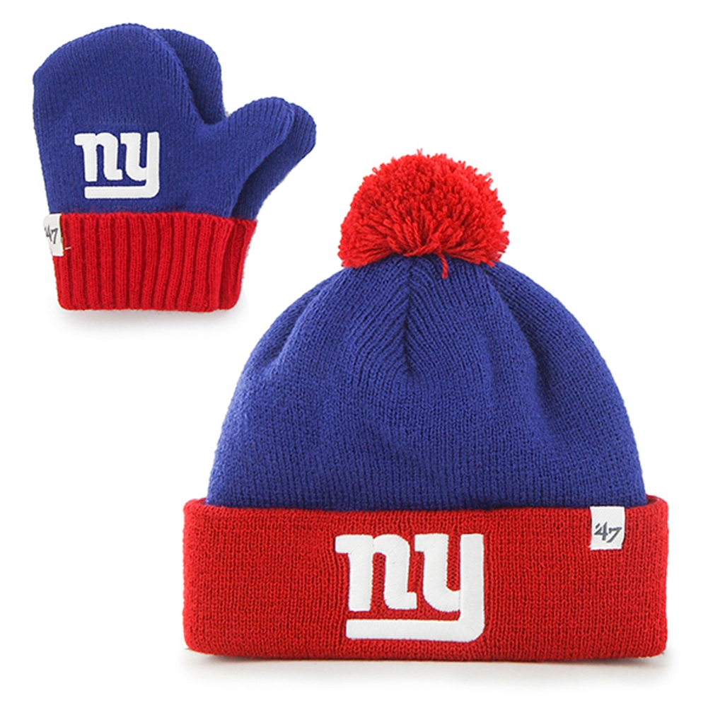 New York Giants - Logo Bam Bam Toddler Pom Pom Beanie and Mitten Set