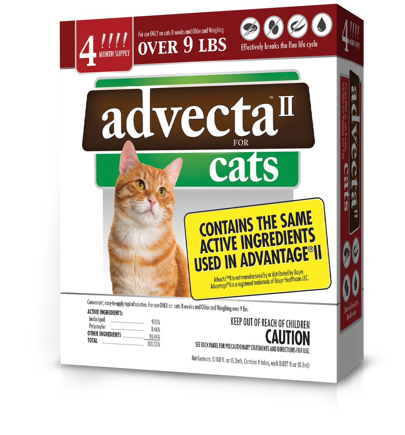 Advecta II Flea Treatment for Large Cat, 4 Monthly Treatments