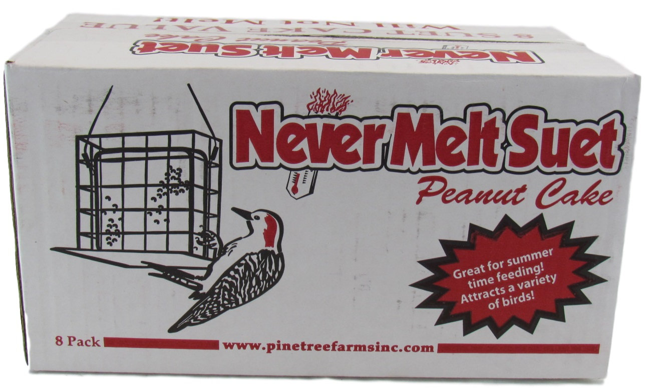 8 Pack Pine Tree Farms Never Melt Suet Peanut Cake Value Pack 11 oz Made in USA by PINE TREE FARMS