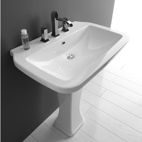 WS Bath Collections Nova Ceramic 30'' Pedestal Bathroom Sink with Overflow