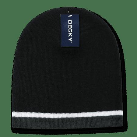 Three Stripe Cap - Decky Double Striped Three 3 Tone Beanies Beany For Men Women Knitted Ski Skull Winter Caps Hats