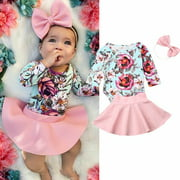Infants Baby Girl Pink Skirt Clothes 3 Pieces Set Floral Long Sleeve Bodysuits Tops Toddler Rompers Headband Outfits New Cute Clothing Autumn