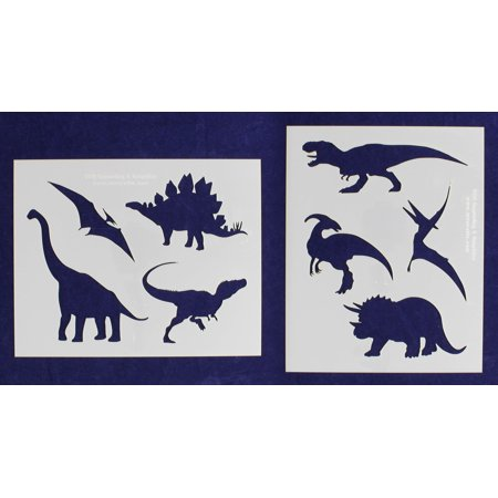 Dinosaur Stencils - 2 Piece Set - 8 x 10 Inches