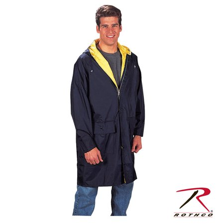 Vented Jacket (Rothco PVC Hooded Raincoat w/Under Arm Vents (XL)- Blue/Ylw )