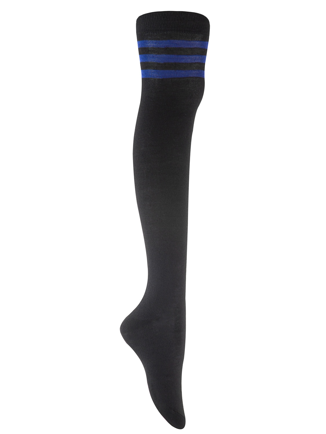 Lian Style Big Girl's 4 Pairs Over-the-Knee Thigh High Knee-high Cotton Socks Size L/XL 4p4c01 (Blue, Red, Purple, Pink Strip)