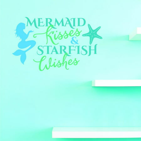 Custom Decals Mermaid Kisses & Starfish Wishes Wall Art Size: 20 X 40 Inches Color: - Wish Size Chart