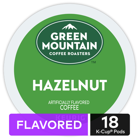 - Green Mountain Coffee Hazelnut, Flavored Keurig K-Cup Pod, Light Roast, 18 Ct