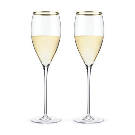 Insulated Wine Glass, Gold Rimmed Crystal Clear White Wine Glasses, Set Of 2 - Gold Wine Glasses