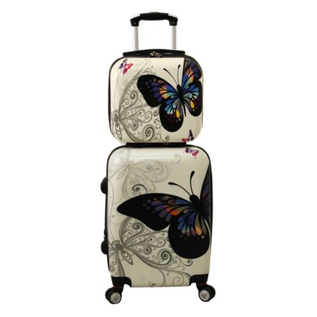World Traveler Butterfly 2 Piece Hardside Carry-on Spinner Luggage Set - Butterfly