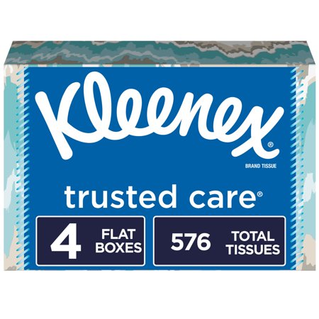 Kleenex Trusted Care Everyday Facial Tissues, 4 Rectangular Boxes, 144 Tissues per Box (576 Tissues Total)