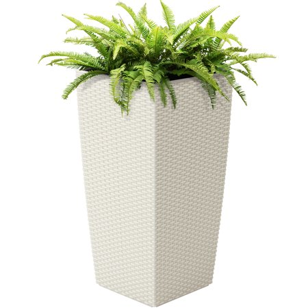 Best Choice Products 11x11-inch Indoor Outdoor Self Watering Wicker Planter with Rolling Wheels and Water Level Indicator, White ()