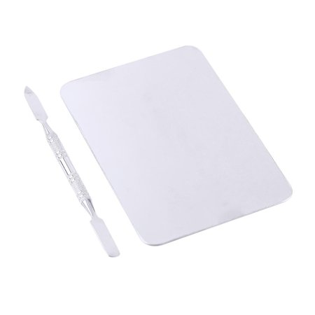 Ccdes Cosmetic Mixing Tool, Mixing Palette,Small Stainless Steel Makeup Palette Rectangle Shape Foundation Mixing Plate Tools With Spatula - image 1 of 8