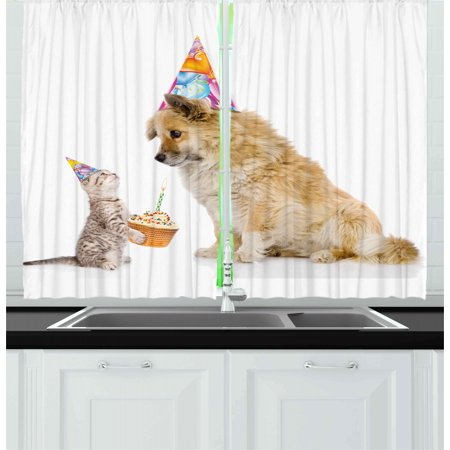 Kids Birthday Curtains 2 Panels Set, Cat and Dog Domestic Animals Human Best Friend Party with Cupcake and Candle, Window Drapes for Living Room Bedroom, 55W X 39L Inches, Multicolor, by (The Best Chat Rooms)