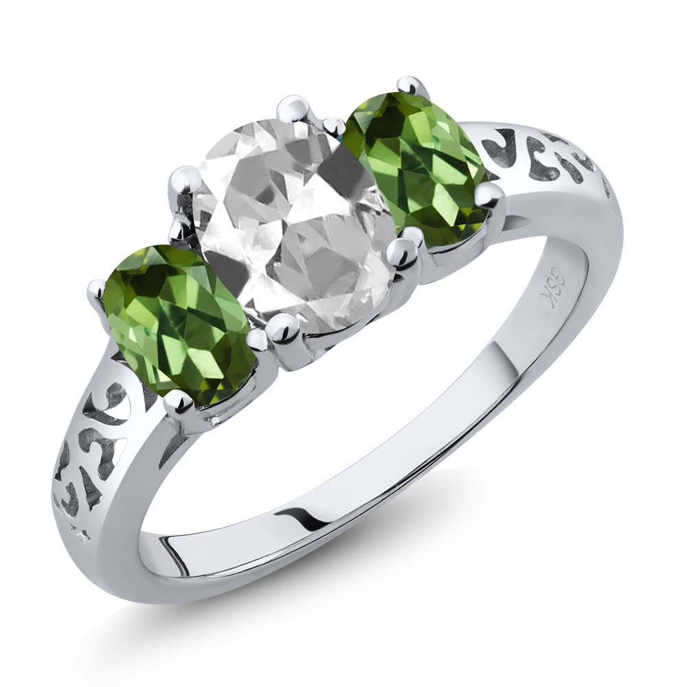 2.30 Ct Oval White Topaz Green Tourmaline 18K White Gold 3-Stone Ring by