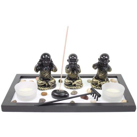 Zen Garden Buddha Monks No Evils Rock Rake Candle Incense Burner