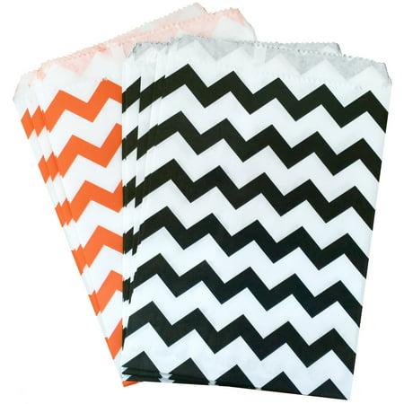 Black and Orange Chevron Halloween Treat/ Favor Bags  48 Pk