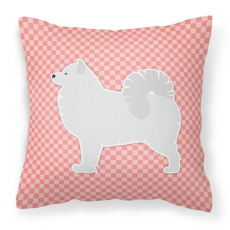 Carolines Treasures BB3659PW1414 Samoyed Checkerboard Pink Fabric Decorative Pillow - image 1 of 1