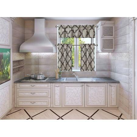 3-piece moza taupe/brown blackout rod pocket kitchen curtain set, two (2) geometric design tier
