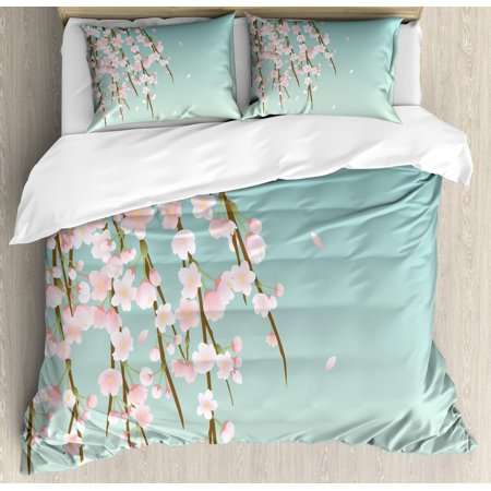 Weeping Flower King Size Duvet Cover Set, Freshly Blooming Cherry Blossom Branches with Flower Buds, Decorative 3 Piece Bedding Set with 2 Pillow Shams, Pale Pink Baby Blue and Taupe,