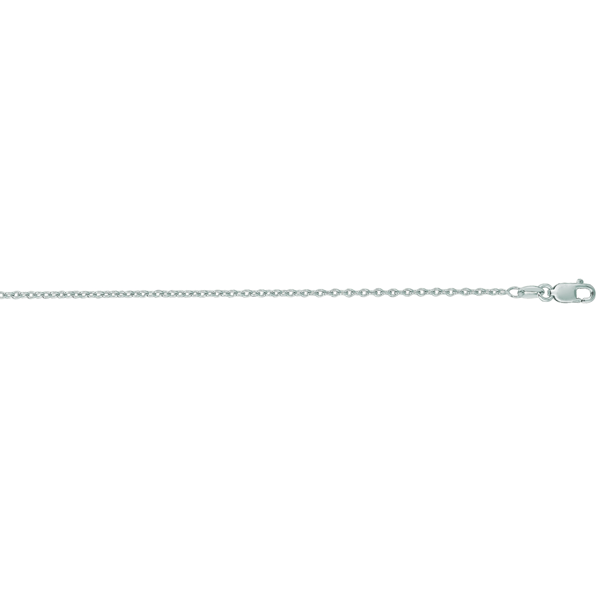 """Luxurman 14K White Solid Gold 1.5mm wide Diamond Cut Round Cable Link Chain 20"""" Necklace Lobster Clasp"""