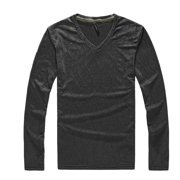 Azzuro Men's Stylish Long Sleeve V Neckline Textured Slim Fit Knit Shirt Black (Size M / 40)
