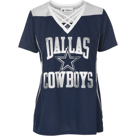 Women's Navy/Silver Dallas Cowboys Kalina V-Neck T-Shirt (Dallas Cowboy Cheerleader Outfits)