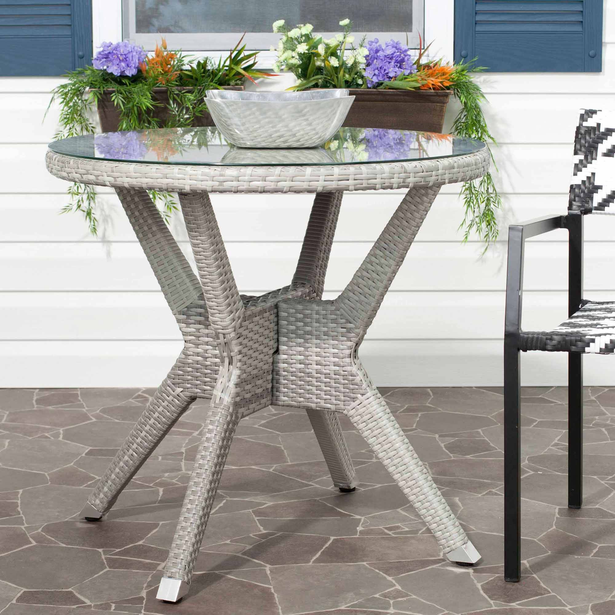 Safavieh Langer Round Wicker Accent Table, Grey