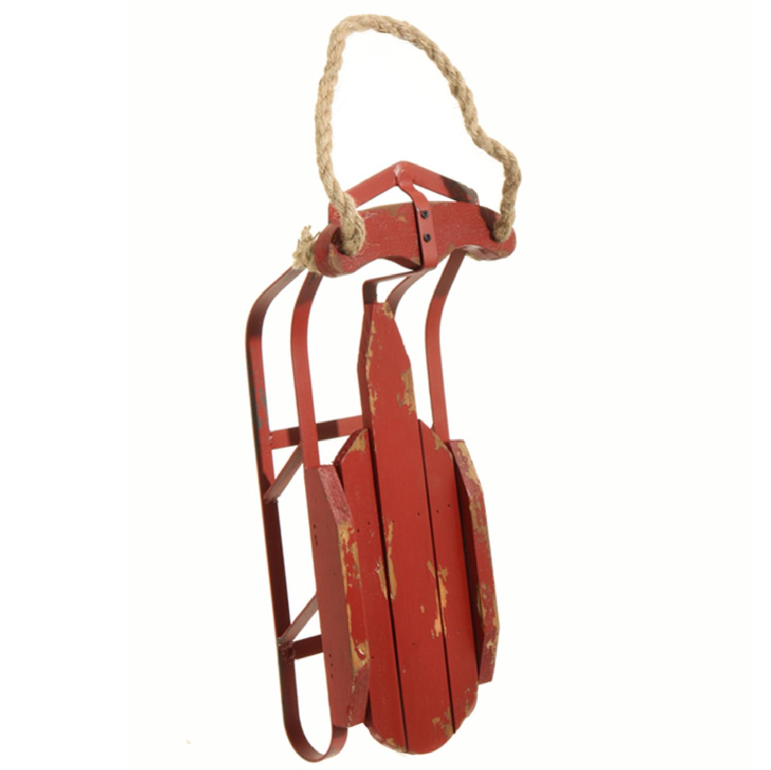 """16.5"""" Country Cabin Decorative Traditional Rustic Christmas Holiday Fir Wood Sled"""