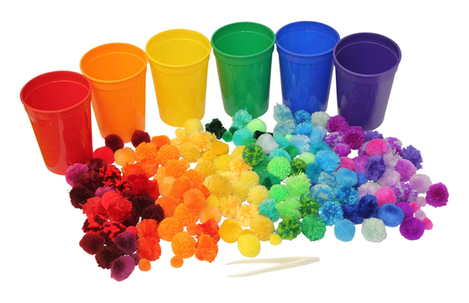 Color Sorting Cups and Pom Poms to Sort Color Scale Variations for Preschool and Early Childhood Education... by