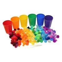Color Sorting Cups and Pom Poms to Sort - Color Scale Variations for Preschool and Early Childhood Education - Color learning toy - Sorting Tray