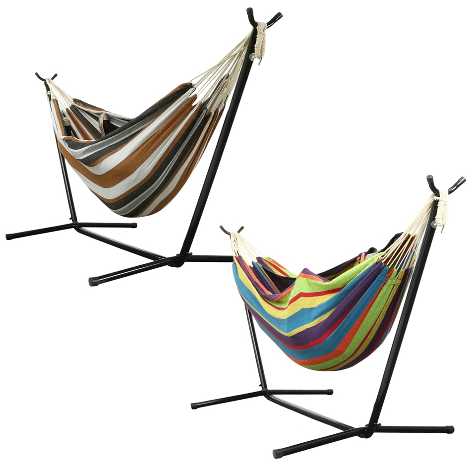 Double Hammock With Stand Hanging Camping Hommock Up to 220bl &Portable Carry Bag For Indoor Outdoor by