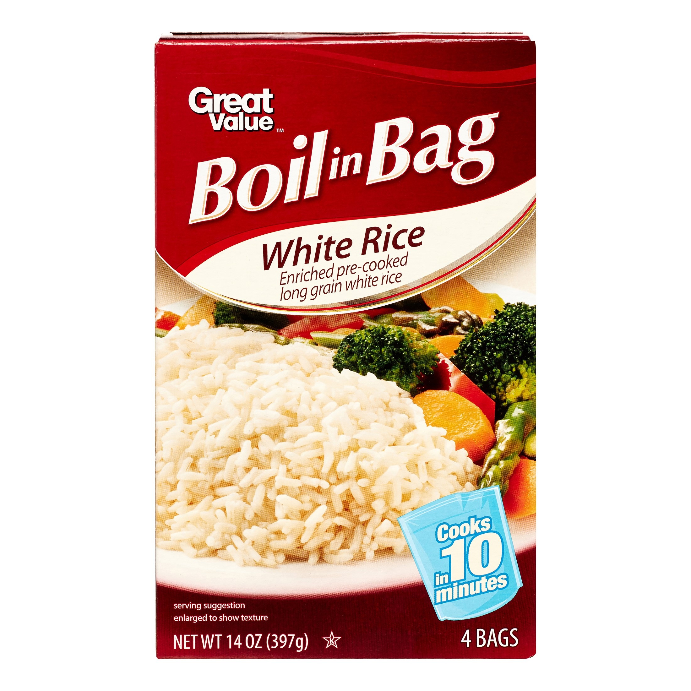 Great Value Boil-in-Bag White Rice, 14 Oz by Great Value