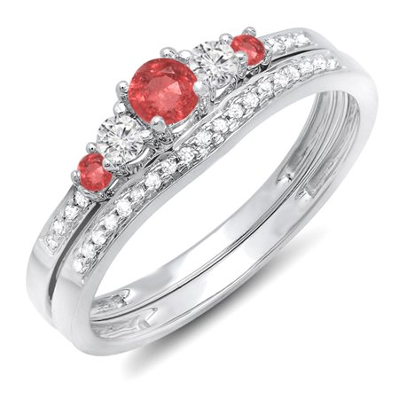 Dazzlingrock Collection 10K Ruby And White Diamond Ladies 5 Stone Bridal Engagement Ring Matching Band Set, White Gold, Size 6