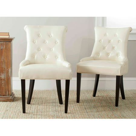 Safavieh Bowie Bicast Leather Side Chair, Cream, Set of -