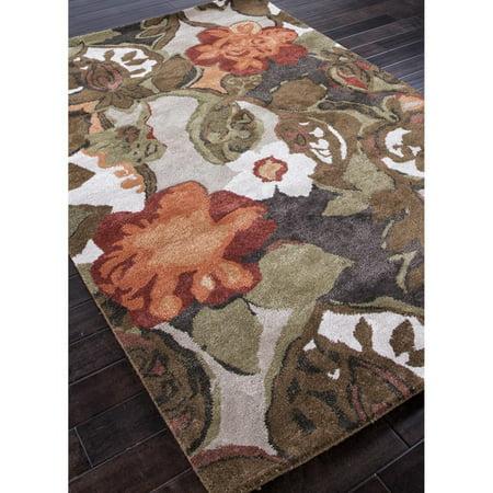 8 Inch Pusher - Jaipur Petal Pusher Transitional Floral Pattern Wool/Silk Tufted Rug