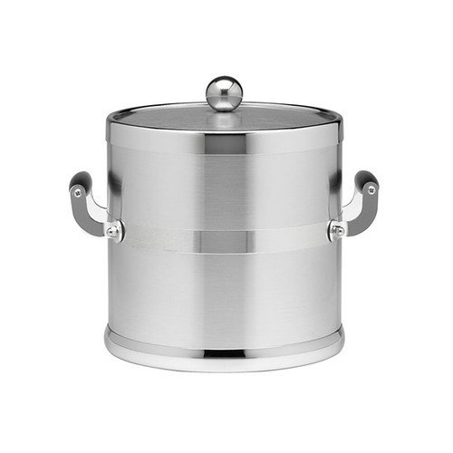 Kraftware 3 Qt. Metal Ice Bucket with Wood Side Handles
