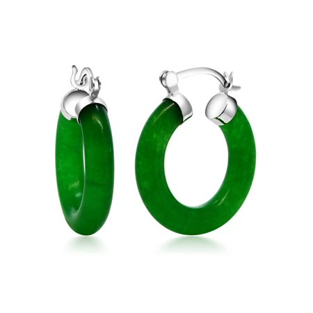 Vibrant Green 925 Sterling Silver Solid Jade Hoop Earrings 0.5 Inch