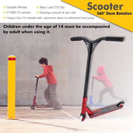 Yescom Professional Aluminum Freestyle Stunt Kick Scooter Tricks Skatepark BMX Handlebar for Adult Color (Best Brand Of Trick Scooters)