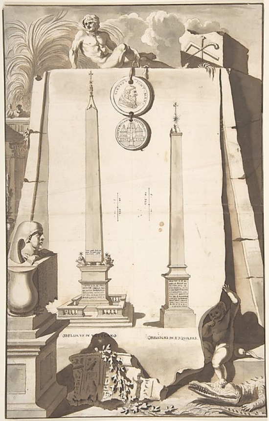 A View of Two Obelisks One in the Vatican and the Other on the Esqualine Hill Poster Print by Jan Goeree (Dutch... by Public Domain Images