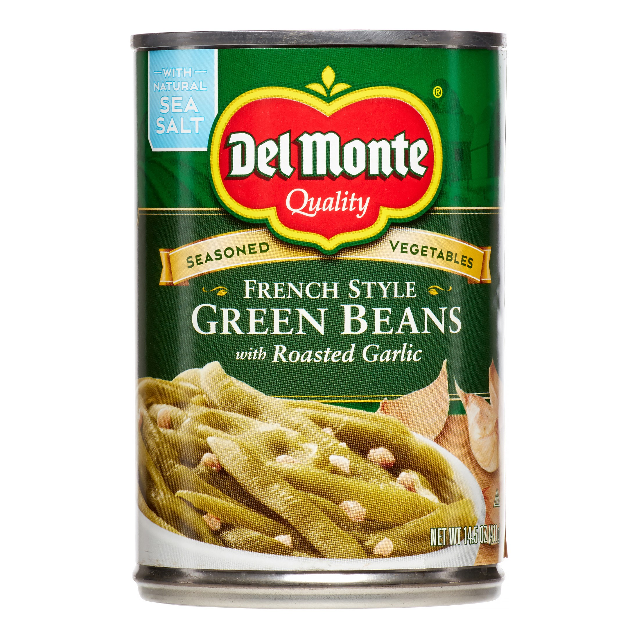 Del Monte Green Beans French Style With Roasted Garlic, 14.5 Oz