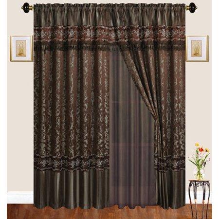 Luxury Jacquard Curtains Chocolate Brown Window Panels