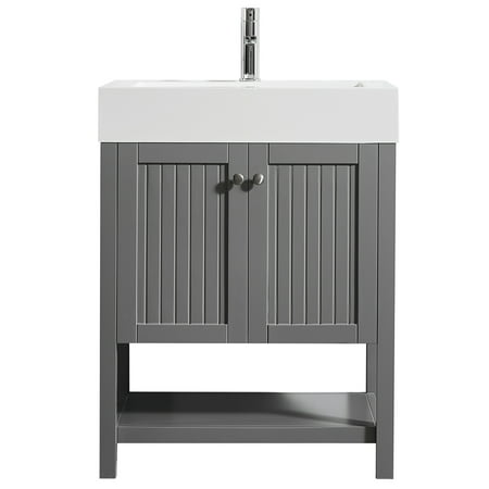 """Pavia 28"""" Single Vanity in Grey with Acrylic under-mount Sink with Mirror without Mirror Self Portrait Mirrors Single"""
