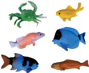 6 ct Deep Sea Fish Assortment Cake Adornments (2-3 inches)