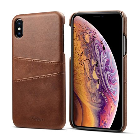 Mignova iPhone Xs Max Mobile Phone case, Ultra-Thin Retro Leather Texture Skillful case, with a Slot on The Back, Suitable for The iPhone Xs Max 6.5 inch 2018 (Brown) ()