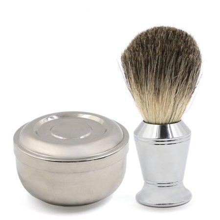 Mens Stainless Steel Shaving Soap Cream Mug Badger Hair Shaving