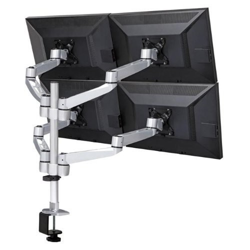 """Mount-It! Quad Monitor Desk Mount for 4K, 3D, LCD or LED, 13"""" 24"""" Screen Sizes, Articulating Arm Design, 80 Lbs Capacity, Silver (MI-63151)"""