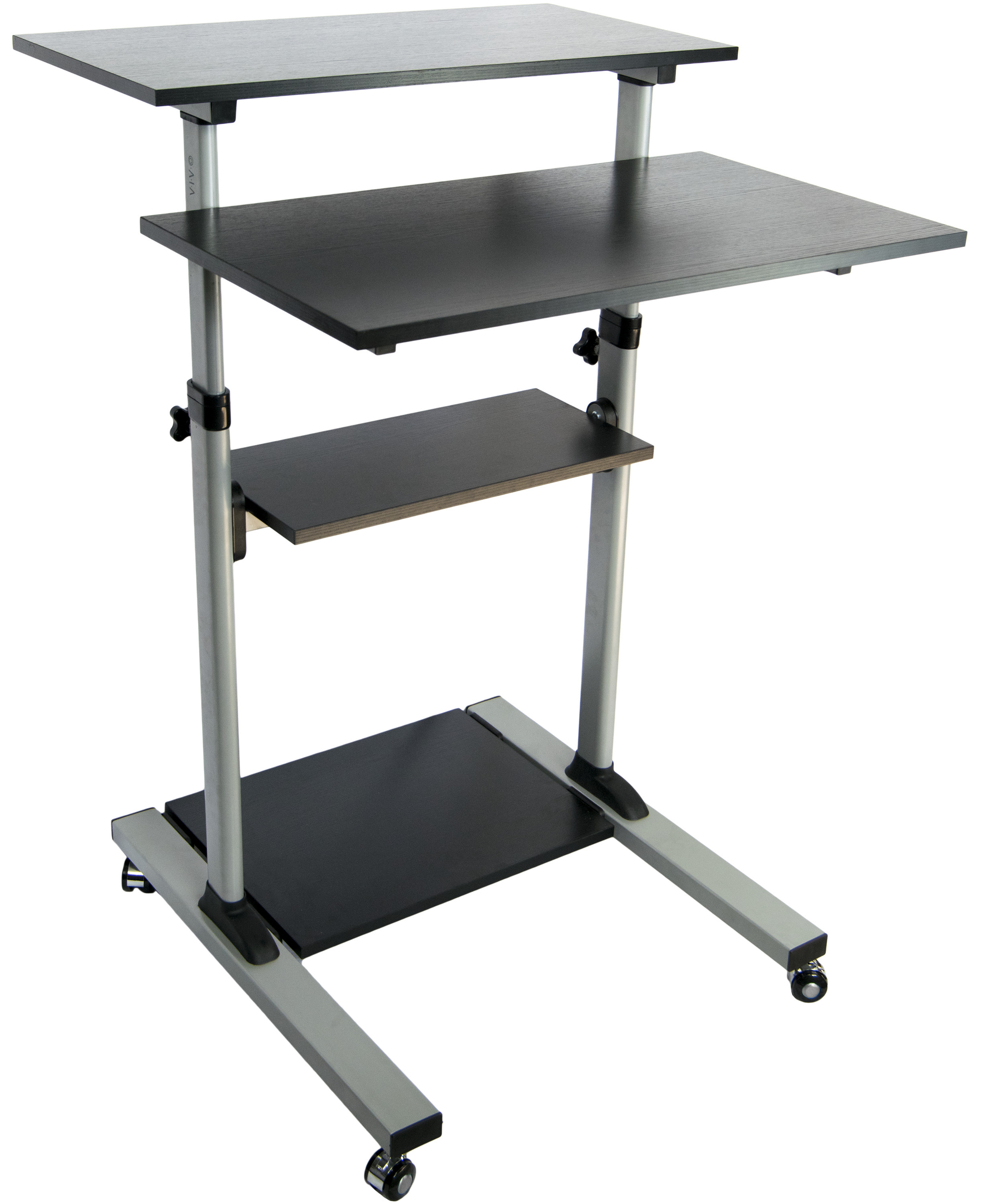 vivo mobile height adjustable stand up desk computer work station cart cart