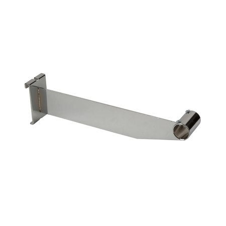 """Econoco 12"""" Chrome Grid Accessory Bracket to Hold 1"""" or 1 1/16"""" Round Tubing Hangrail on Wire Grid - Pack of 24"""